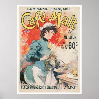 Cafe Malt Vintage Coffee Drink Ad Art Poster