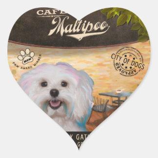 Cafe Maltipoo Heart Sticker