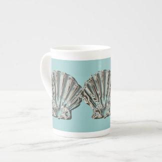 Café marrón de la playa de la aguamarina taza de porcelana