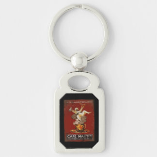 Cafe Martin Coffee Genie Silver-Colored Rectangular Metal Keychain