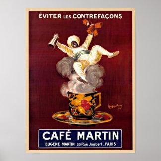 Cafe Martin Vintage Paris France Advert Poster Poster