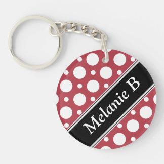 Cafe Merlot Assorted Polka Dots Acrylic Keychain