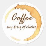 Café - mi droga de la opción pegatinas redondas