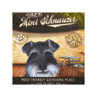 Cafe Mini Schnauzer Canvas Print