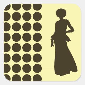 Café Mocha Cream Neutral Dots Fashion Silhouette Square Sticker