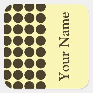 Café Mocha Cream Neutral Dots with name text Square Sticker