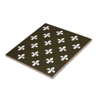 Café Mocha Neutral Fleur de Lys Small Square Tile