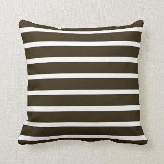 Café Mocha Neutral Stripes Pillow