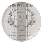 café moderno del francés del vintage plato