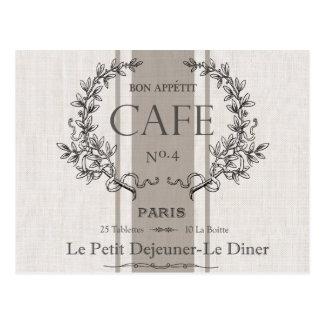 café moderno del francés del vintage postal