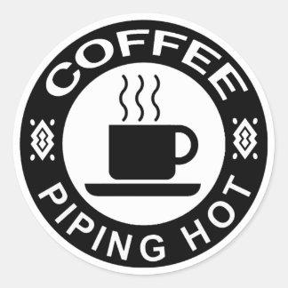CAFÉ - MUY CALIENTE PEGATINA REDONDA