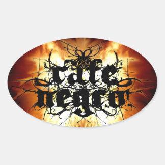 Cafe Negro Flames Pentagram Oval Sticker