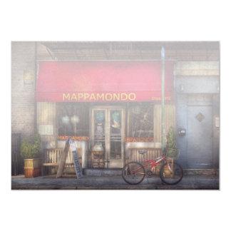 """Cafe - NY - Chelsea - Mappamondo 5"""" X 7"""" Invitation Card"""