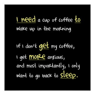 Café o más cuadrado del sueño (versión oscura) póster