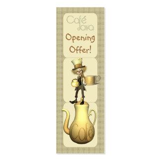 Café o tarjetas de la publicidad y de la promoción tarjetas de visita mini