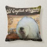 Cafe Old English Sheepdog Throw Pillows
