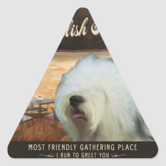 Cafe Old English Sheepdog Triangle Stickers