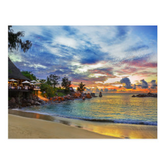 Cafe On Tropical Beach At Sunset Postcard