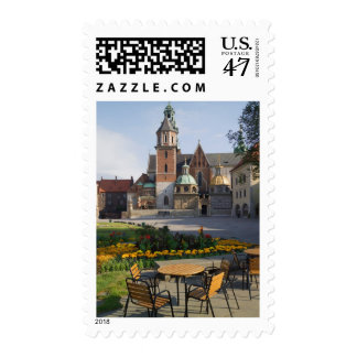 Cafe overlooking Wawel Cathedral, Wawel Hill, Postage Stamp