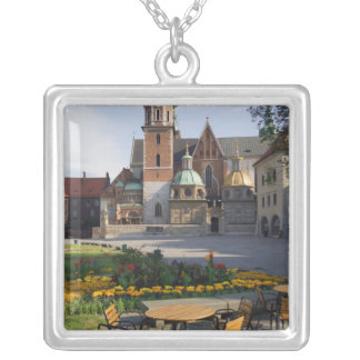 Cafe overlooking Wawel Cathedral, Wawel Hill, Silver Plated Necklace