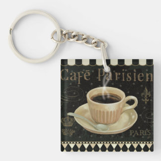 Cafe Parisien Double-Sided Square Acrylic Keychain