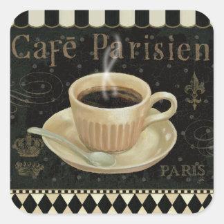Café Parisien Pegatina Cuadrada