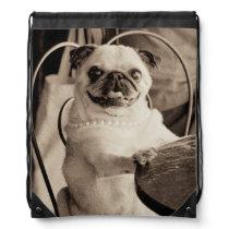Cafe Pug Drawstring Bag