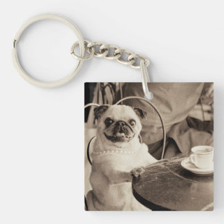 Cafe Pug Acrylic Key Chain