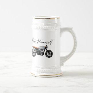 Cafe Racer, Brat Bike motorcycle Free Yourself Beer Stein