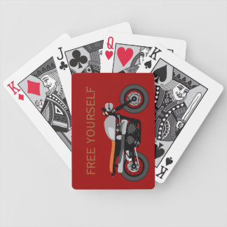 Cafe Racer, Brat Bike motorcycle Free Yourself Bicycle Playing Cards