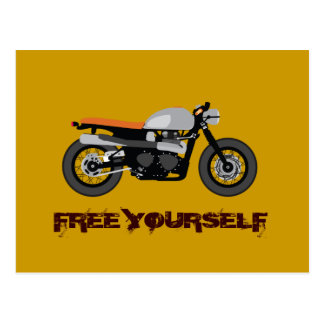 Cafe Racer, Brat Bike motorcycle Free Yourself Post Cards