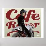Cafe Racer Girl on Moto Guzzi motorbike Poster