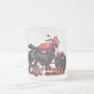 Cafe Racer Motorcycle Frosted Glass Coffee Mug