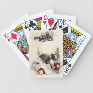 Cafe racer motorcycle watercolor bicycle playing cards
