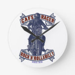 Cafe racer round wall clock