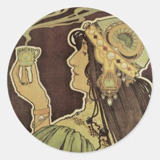 Café Rajah, té de consumición de Nouveau del arte Pegatina Redonda