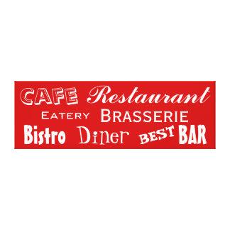 Cafe Restaurant Diner Bistro Words Custom Color Canvas Print