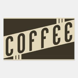 café retro pegatina rectangular