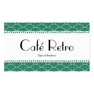 Café Retro (Scalloped) - Fish Scale Pattern Double-Sided Standard Business Cards (Pack Of 100)