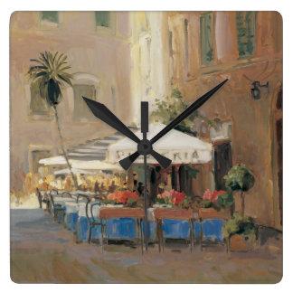 Café Roma Square Wall Clock