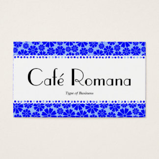 Café Romana (Scalloped) Floral Pattern Business Card