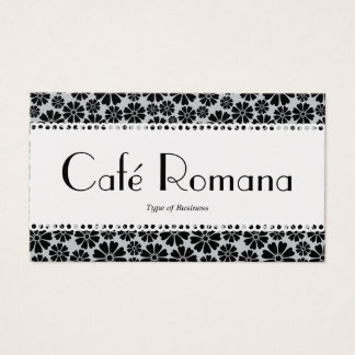Café Romana (Scalloped) Floral Pattern (Gold) Business Card