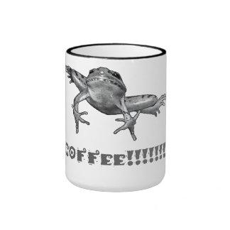 ¡Café!!!!!!!!! Salto de la rana, arte del lápiz Taza De Dos Colores