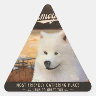 Cafe Samoyed Triangle Stickers