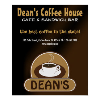 Cafe Shop Coffee Cup Custom Marketing Posters Poster