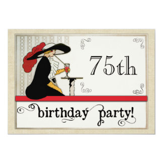 Cafe Society Personalized Womans Birthday Party 5x7 Paper Invitation Card