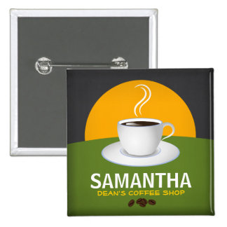 Cafe Staff ID Name Tags Coffee Shop Coffee Cup 2 Inch Square Button