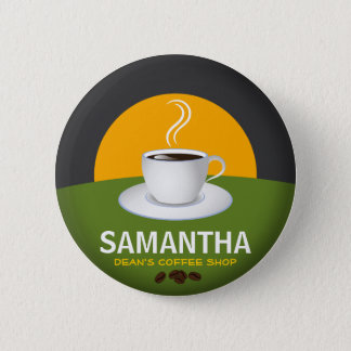 Cafe Staff ID Name Tags Coffee Shop White Cup Button