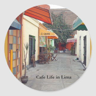 Cafe Street Cheap Lunch in Lima Classic Round Sticker