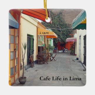 Cafe Street in Lima Customizable Ceramic Ornament